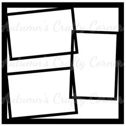 3 Frames - Scrapbook Page Overlay Die Cut - Choose a Color
