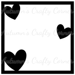 3 Hearts - Scrapbook Page Overlay Die Cut - Choose a Color