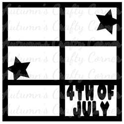4th of July - Stars - 6 Frames - Scrapbook Page Overlay Die Cut - Choose a Color