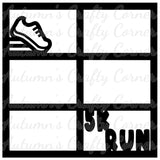 5K Run - 6 Frames - Scrapbook Page Overlay Die Cut - Choose a Color