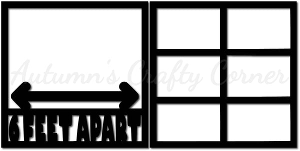 6 Feet Apart - Scrapbook Page Overlay Set - Choose a Color