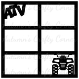 ATV - 4 Wheeler - 6 Frames - Scrapbook Page Overlay Die Cut - Choose a Color