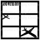 And We're Off - 6 Frames - Airplanes - Scrapbook Page Overlay Die Cut - Choose a Color