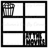 At the Movies - 6 Frames - Scrapbook Page Overlay Die Cut - Choose a Color