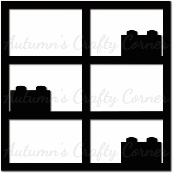 Blocks - 6 Frames - Scrapbook Page Overlay Die Cut - Choose a Color