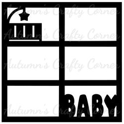 Baby - Crib - 6 Frames - Scrapbook Page Overlay Die Cut - Choose a Color
