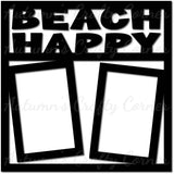 Beach Happy - 2 Vertical Frames - Scrapbook Page Overlay Die Cut - Choose a Color