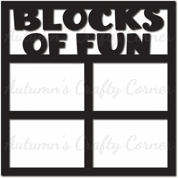 Blocks of Fun - 4 Frames - Scrapbook Page Overlay Die Cut - Choose a Color