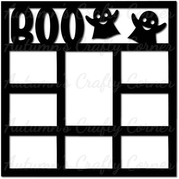 Boo - 8 Frames - Scrapbook Page Overlay Die Cut - Choose a Color