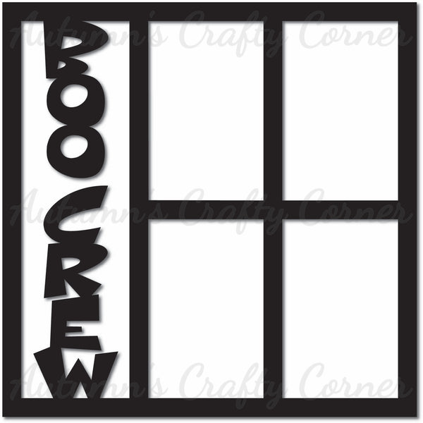 Boo Crew - 4 Vertical Frames - Scrapbook Page Overlay Die Cut - Choose a Color