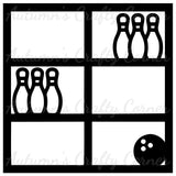 Bowling Ball & Pins - 6 Frames - Scrapbook Page Overlay Die Cut - Choose a Color
