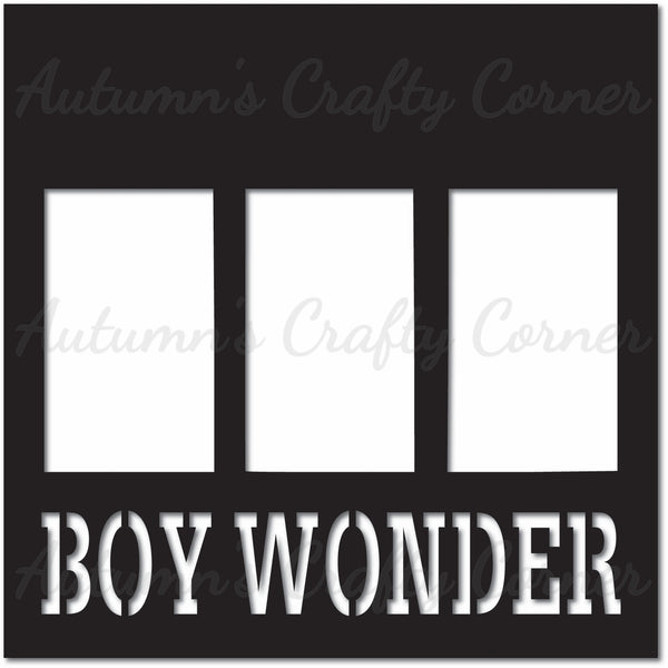 Boy Wonder - 3 Vertical Frames - Scrapbook Page Overlay Die Cut - Choose a Color