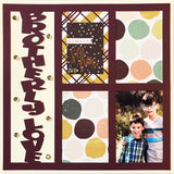 Brotherly Love - 4 Vertical Frames - Scrapbook Page Overlay Die Cut - Choose a Color