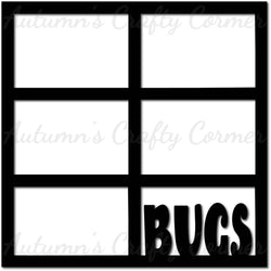 BUGS - 6 Frames - Scrapbook Page Overlay Die Cut - Choose a Color