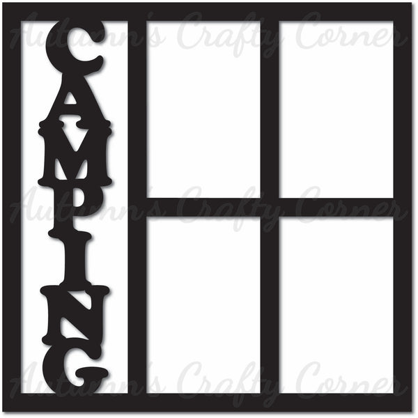 Camping - 4 Vertical Frames - Scrapbook Page Overlay Die Cut - Choose a Color