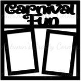 Carnival Fun - 2 Vertical Frames - Scrapbook Page Overlay Die Cut - Choose a Color
