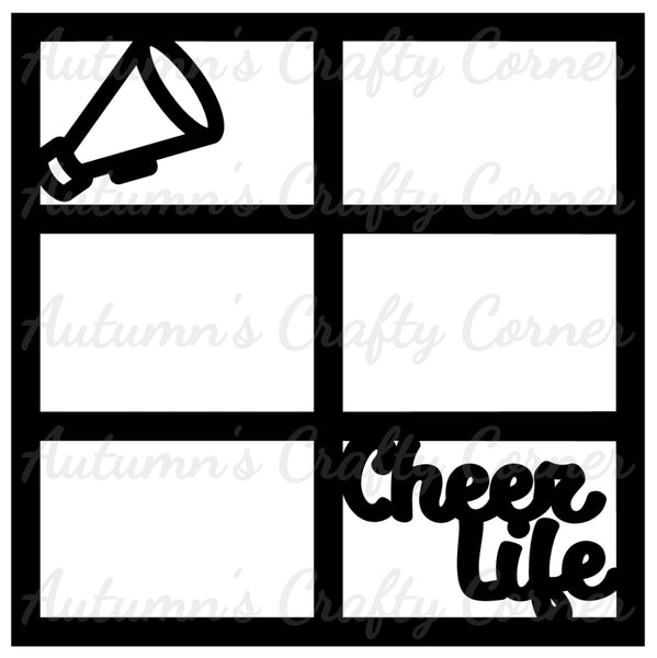 Cheer Life - Cheerleading - 6 Frames - Scrapbook Page Overlay Die Cut - Choose a Color