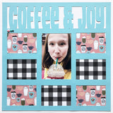 Coffee & Joy - 8 Frames - Scrapbook Page Overlay Die Cut - Choose a Color