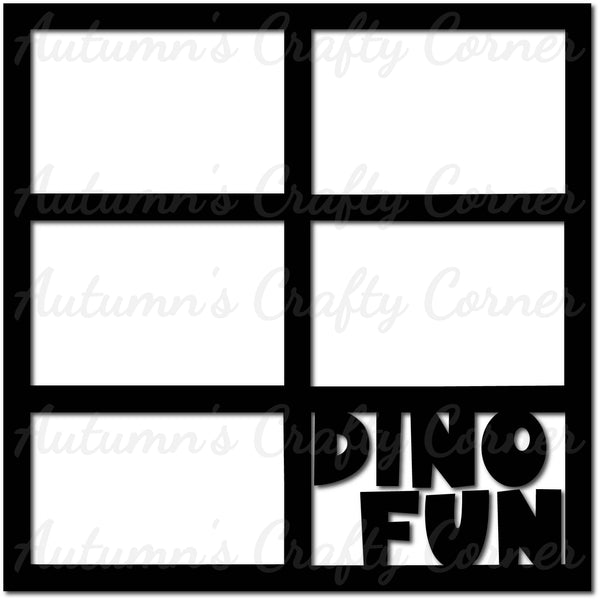 Dino Fun - 6 Frames - Scrapbook Page Overlay Die Cut - Choose a Color