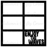 Enjoy the Waves - 6 Frames  - Scrapbook Page Overlay Die Cut - Choose a Color