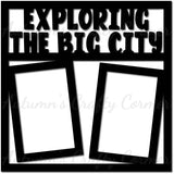 Exploring the Big City - 2 Vertical Frames - Scrapbook Page Overlay Die Cut - Choose a Color