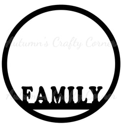 Family - Circle Scrapbook Page Overlay Die Cut - Choose a Color
