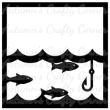 Fishing - Fish - Water - Fishing Hook - Scrapbook Page Overlay Die Cut - Choose a Color