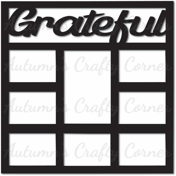 Grateful - 8 Frames - Scrapbook Page Overlay Die Cut - Choose a Color