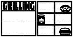 Grilling - Frames - Scrapbook Page Overlay Set - Choose a Color