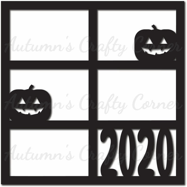 Halloween - 2020 - 6 Frames - Scrapbook Page Overlay Die Cut - Choose a Color