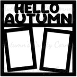 Hello Autumn - 2 Vertical Frames - Scrapbook Page Overlay Die Cut - Choose a Color
