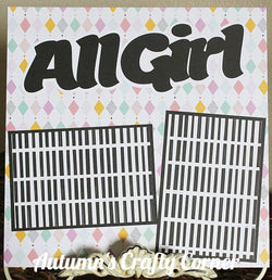 All Girl - Basic Premade Scrapbook Page 12x12 Layout - CLEARANCE