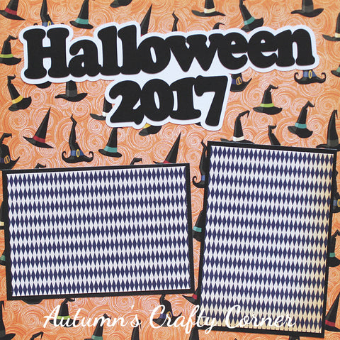 Halloween 2017 - Basic Premade Scrapbook Page 12x12 Layout - CLEARANCE