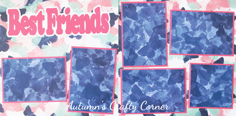 Best Friends - Basic Premade Scrapbook Page Double (2) Page 12x12 Layout - CLEARANCE