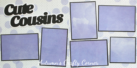 Cute Cousins - Basic Premade Scrapbook Double (2) Page 12x12 Layout - CLEARANCE