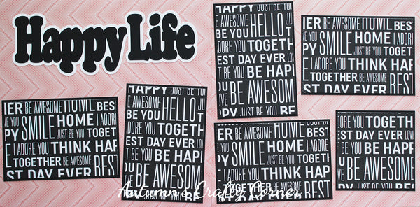 Happy Life - Premade Scrapbook Double (2) Page 12x12 Layout - CLEARANCE