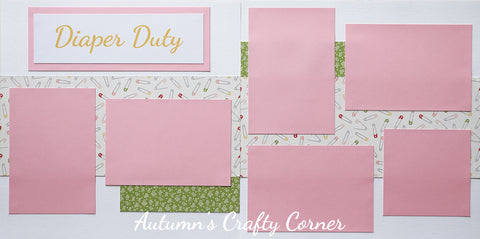 Diaper Duty - Baby Girl - Premade Scrapbook Double (2) Page 12x12 Layout - CLEARANCE