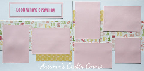 Look Who's Crawling - Baby Girl - Premade Scrapbook Double (2) Page 12x12 Layout- CLEARANCE