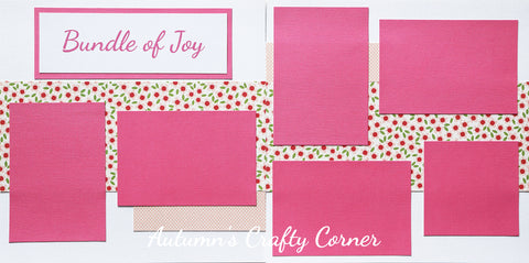 Bundle of Joy - Baby Girl - Premade Scrapbook Double (2) Page 12x12 Layout - CLEARANCE