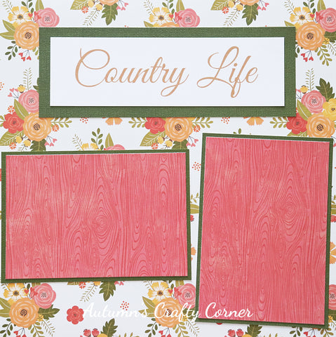 Country Life - Premade Scrapbook Page 12x12 Layout - CLEARANCE