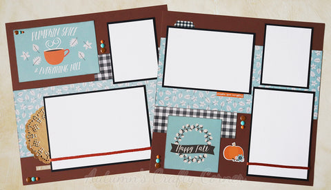 Pumpkin Spice & Everything Nice - Fall - Premade Scrapbook Page Double 12x12 Layout