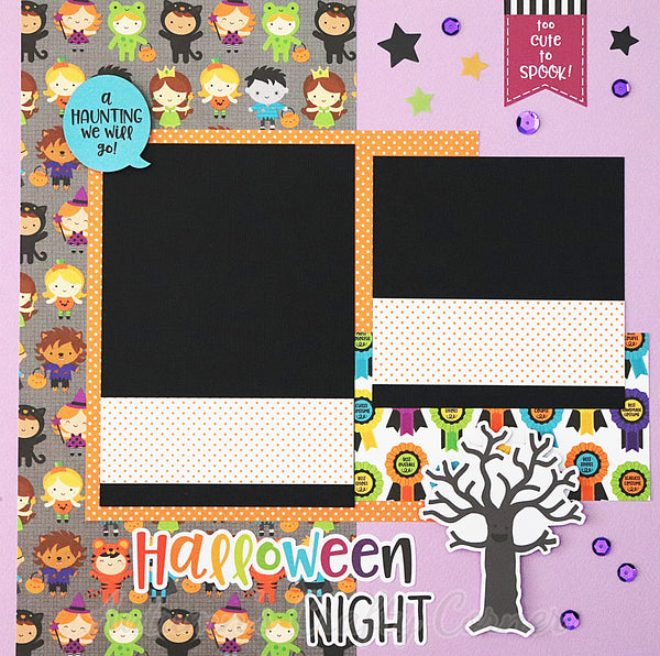 Halloween Night - Premade Scrapbook Page 12x12 Layout