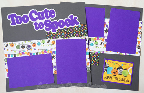 Too Cute To Spook - Premade Scrapbook Page Double 12x12 Layout