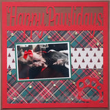 Happy Pawlidays - Dog - Cat - Scrapbook Page Overlay Die Cut - Choose a Color