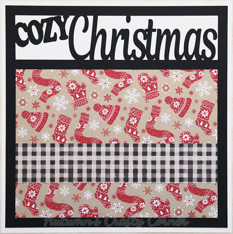 Cozy Christmas - Premade Scrapbook Page 12x12 Layout