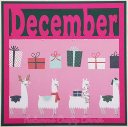 December - Llamas - Premade Scrapbook Page 12x12 Layout