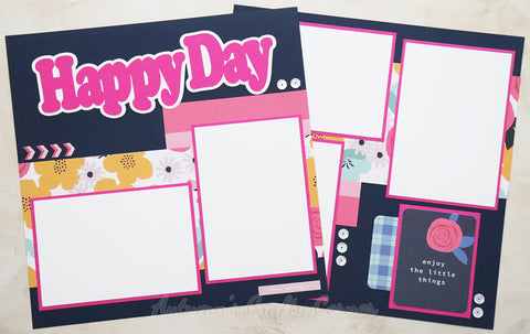Happy Day - Premade Scrapbook Page Double 12x12 Layout