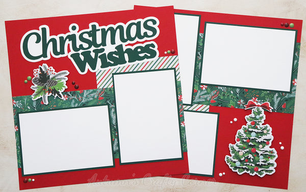Christmas Wishes - Premade Scrapbook Page Double 12x12 Layout