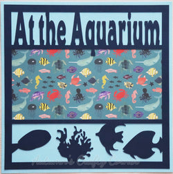 At the Aquarium - Premade Scrapbook Page 12x12 Layout