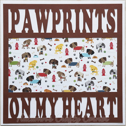 Paw Prints on My Heart - Premade Scrapbook Page 12x12 Layout